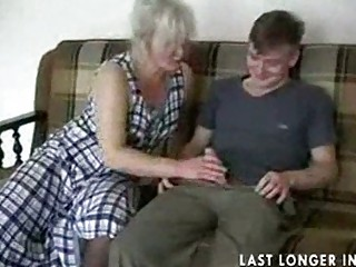 mature golden-haired in nylons copulates the lad