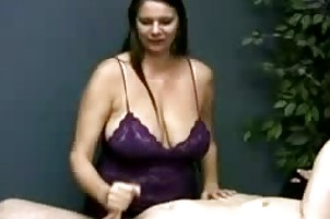 large tit mother strokes her massage client