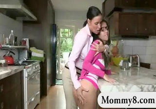large titted legal age teenager and her stepmom